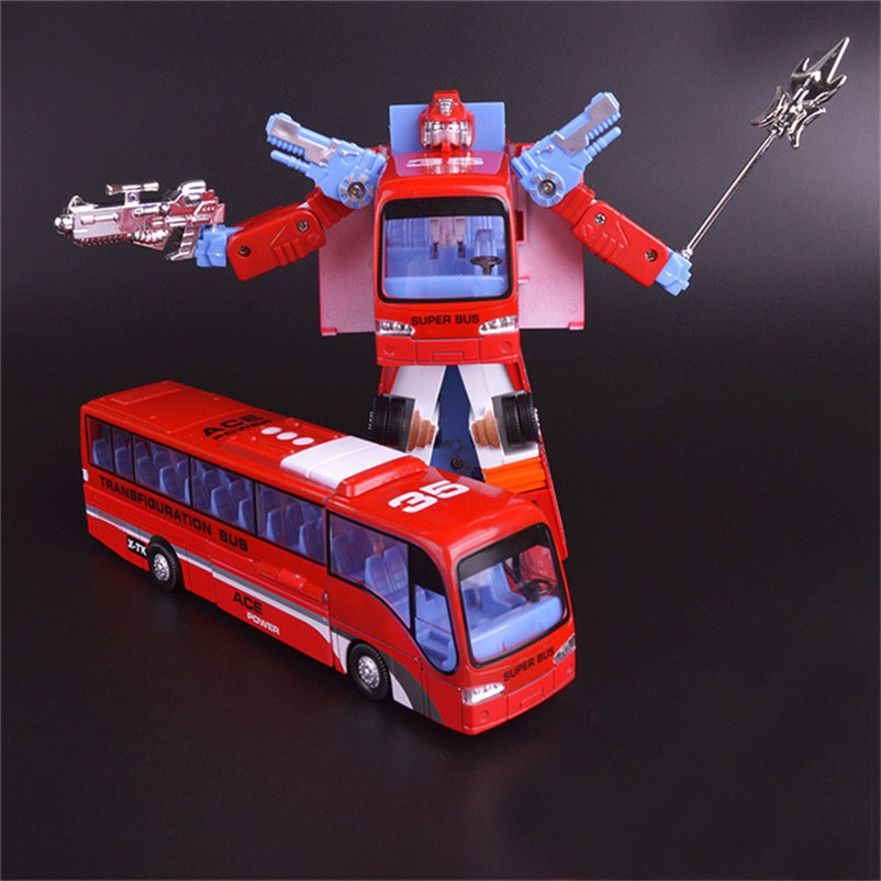 Abbyfrank Plastic And Alloy Bus Car Model Toys Diecast Deformation Transformation Robot Toy For Kids Boy Brinquedos Educativo