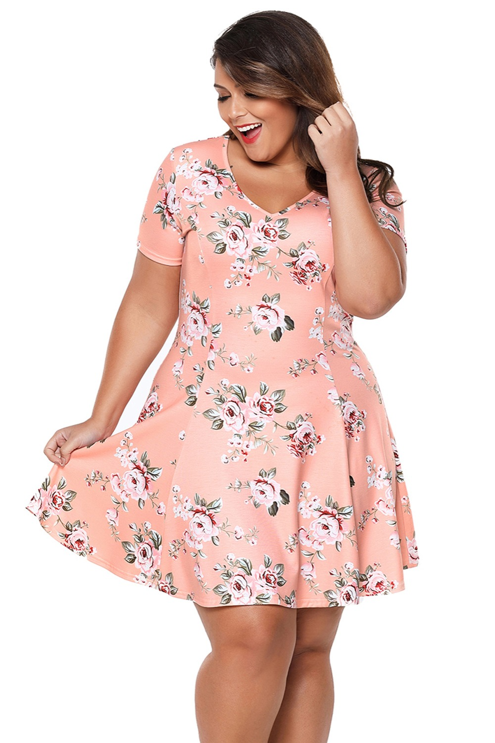 82f59a29e6494 SYLC220280-7 2018 Plus Size Summer Dresses Evening Party Beach Casual V-Neck  Short Sleeve Cute Women Print Coral Floral Mini A-Line Dress Dress Image