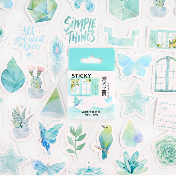 Winzige 45Pcs/Pack Spring Stickers Vintage Plant Flower Green Adhesive Paper Decorate Bullet Journal Diary Planner Cute Stickers