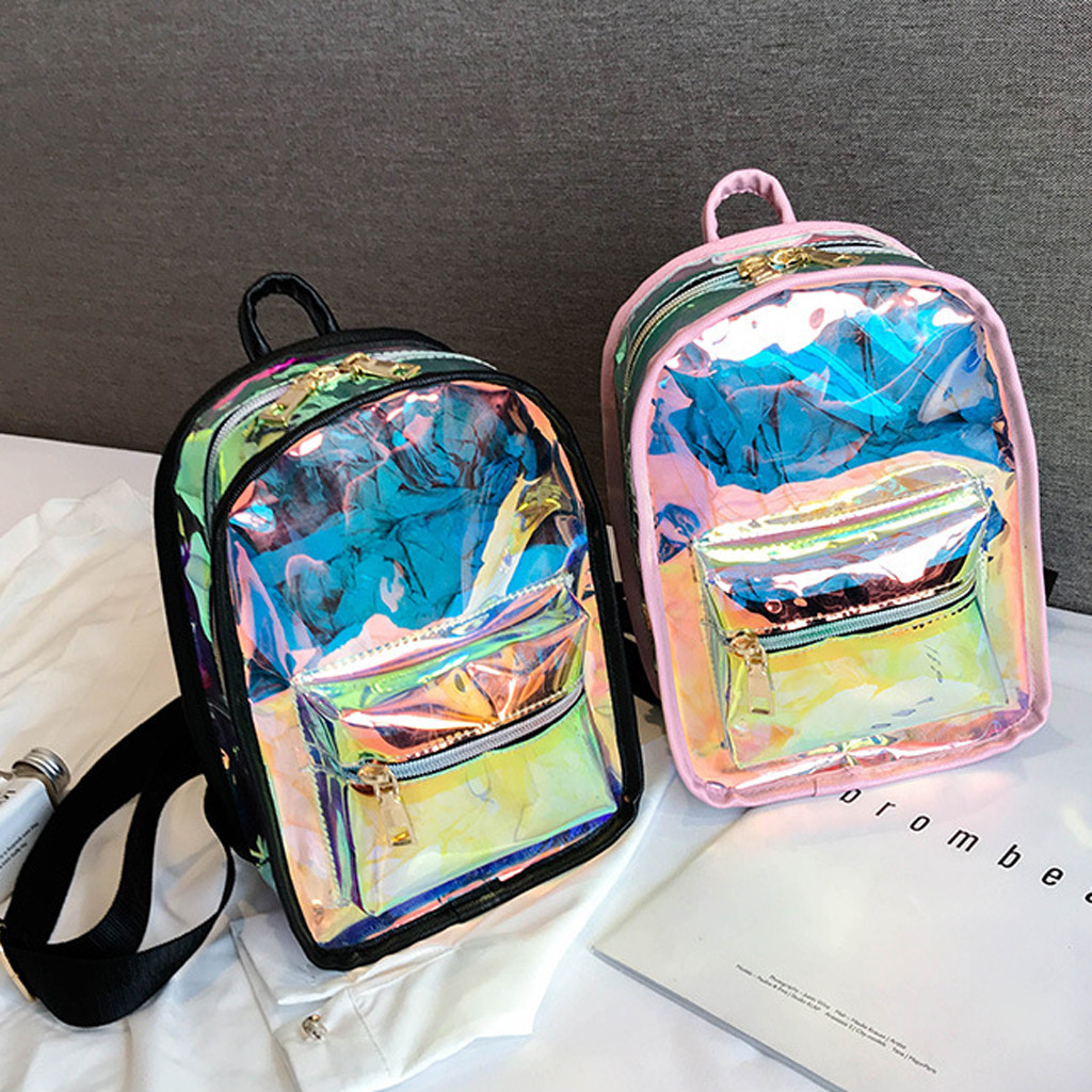 School Package Women Outdoor Candy Colorful Leisure Travel Transparent Waterproof Backpacks Travel Bag School Package May14