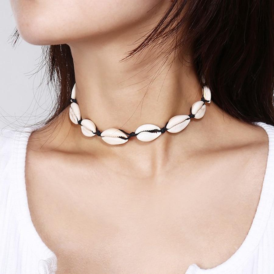 Sea Shell Choker Necklace Women Natural Shell Jewellery Chocker Simple Neckless For Girls kolye jewellery