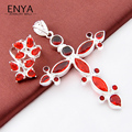 ENYA 2017 New Fashion Women Jewelry Garnet Gems (Rings & Pendant) Sets Jewelry Best Xmas Gift Bijoux