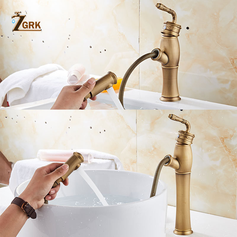 ZGRK Basin Faucets Bathroom Sink Antique Brass Faucet Single Handle Vintage Deck Mount Torneiras Hot And Cold Basin Tap women red gold blue diamond evening bags gold clutch hard box clutches bags day clutch party purse wedding bridal bag women bags