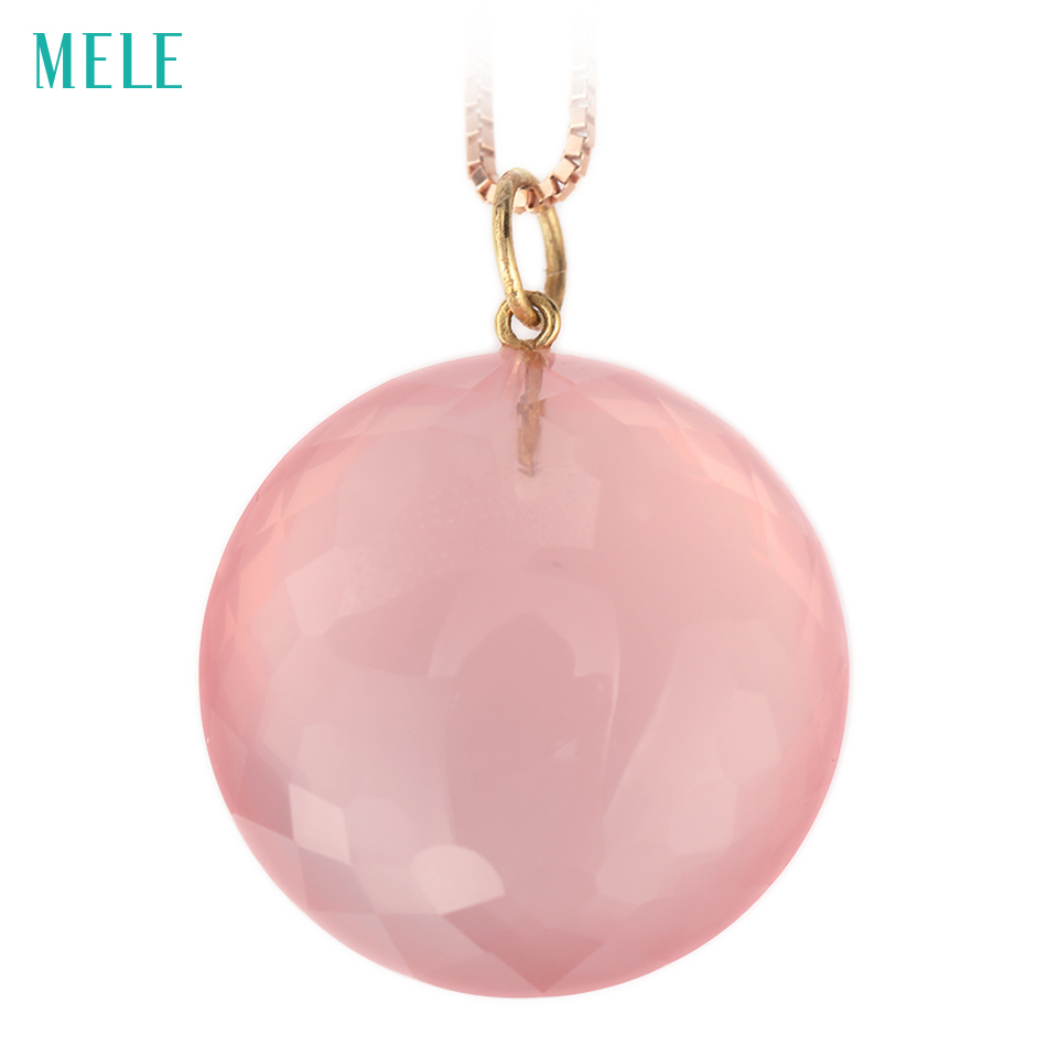 MELE Natural rose quarts real 18k yellow gold pendant, RD 20mm,  deep pink color,, fashion ladies pendant, 18K gold treasure MELE Natural rose quarts real 18k yellow gold pendant, RD 20mm,  deep pink color,, fashion ladies pendant, 18K gold treasure