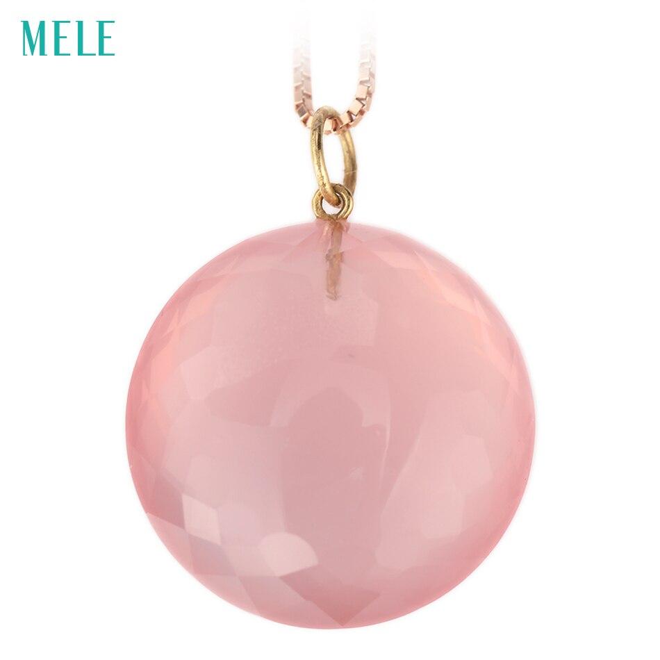 MELE naturel rose quarts réel 18 k pendentif en or jaune, RD 20mm, couleur rose profond,, pendentif mode dames, trésor en or 18 K