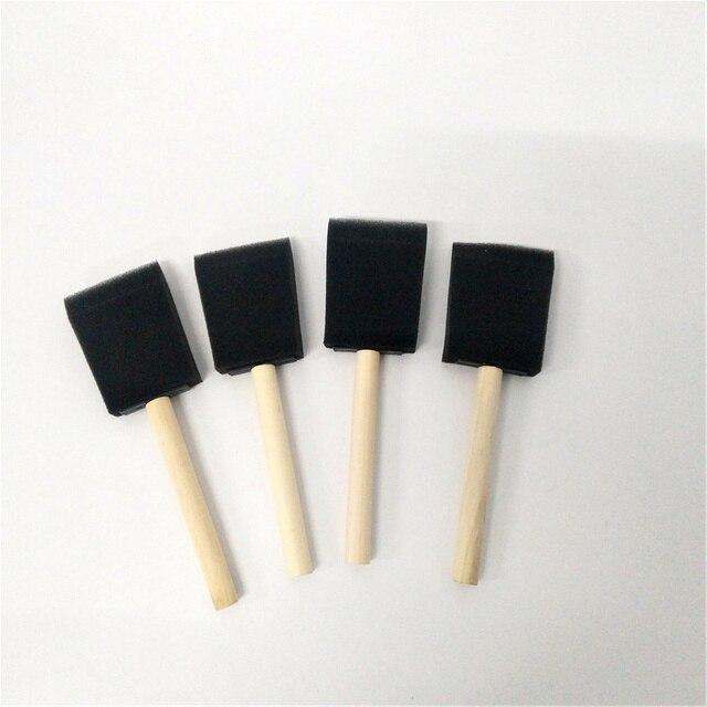 4 pc ancho 5 cm juego de brochas de espuma esponja pincel de pintura de madera Handel pintura al óleo Linda herramientas de arte estudiantes papelería
