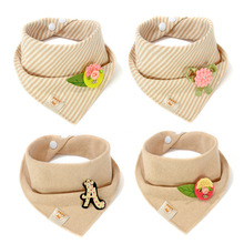 цены Baby Bibs Kids Striped Printing Newborn Cotton Khaki Triangle Scarf Infant Burp Cloths Saliva Towel Baby Bandana Dribble Bibs