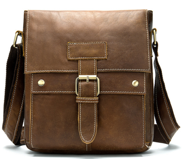 genuine Leather Men Small Briefcase Shoulder Commuter Work Bags Gentle Mens All-match Durable Cowhide Bag Bolso Hombre D847