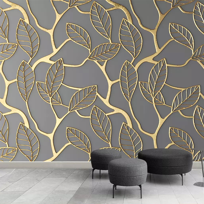 Custom Photo Wallpaper For Walls 3D Stereoscopic Golden Tree Leaves Living Room TV Background Wall Mural Creative Wall Paper 3D