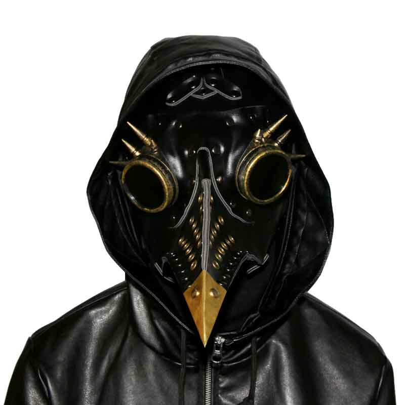 Black PU Leather with Rivet and Goggles Steampunk Mask Plague Bird Long Beak Full Face Gothic Mask Cosplay Costumes Accessories