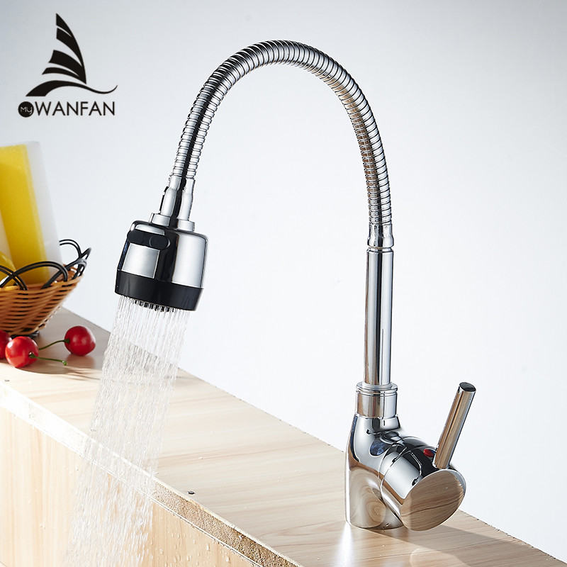 Kitchen Faucets Silver Single Handle Kitchen Mixer Cold and Hot Kitchen Tap Single Hole Water Tap