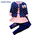 2017 New Style Spring Baby Girl Set Children Sweater Cardigan +Dress +Pant 3pcs Suits Girls Kids Clothing Roupa De Bebe Menina