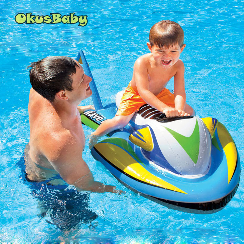 Summer Baby Ride On Water Toys Inflatable Motorboat Bath Water Pool Raft Floating Boat For Children Swimming Surfing On Wave
