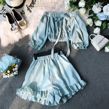 Off Shoulder Lace up Short-sleeved Chiffon Tops Ruffles Wide Leg Short 2pieces Female 2019 Summer Sexy Crop Top Beach Woman Set(China)