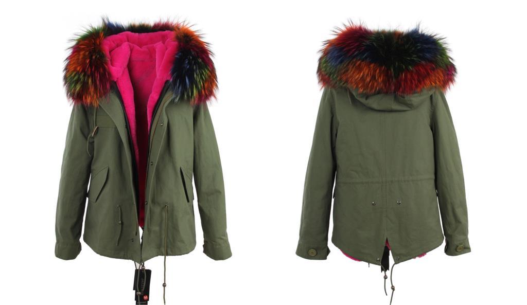GIACCA cappotto Procione vera pelliccia collare PARKA Donna  1c60de14ec33