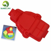 1PC 100% Foodgrade Super Big Lego Shaped Silicone Cake Mold Robot Figure Mould цены