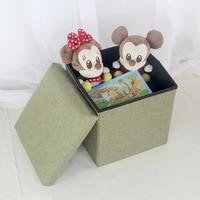 Creative Fabric Folding Stool Basket Craft Ornament Sundries Storage Basket Finishing Box Stool Home Decor Space Organizer Gifts