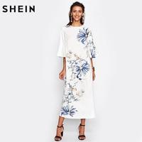 SHEIN Trumpet Sleeve Flower Print Straight Dress White Floral Three Quarter Length Sleeve Dress Elegant Maxi Fall Dresses