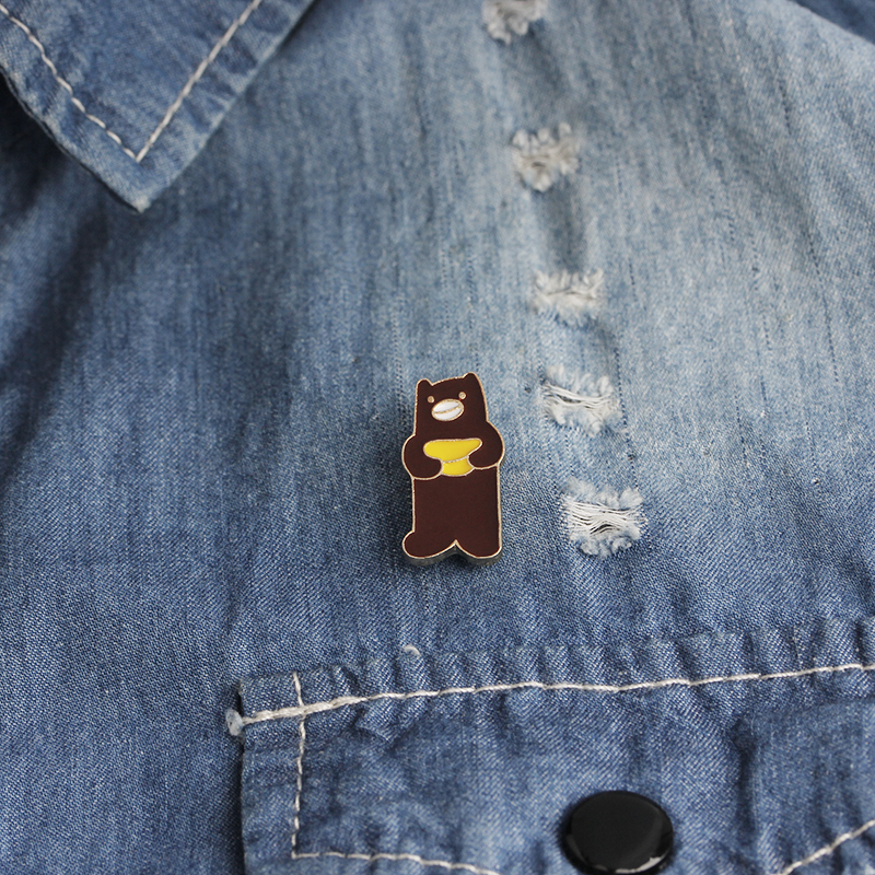 Animal Brooches Pin Badges Ice Bear cute Lapel denim Hat metal enamel Pins Icons jewelry in Brooches from Jewelry Accessories