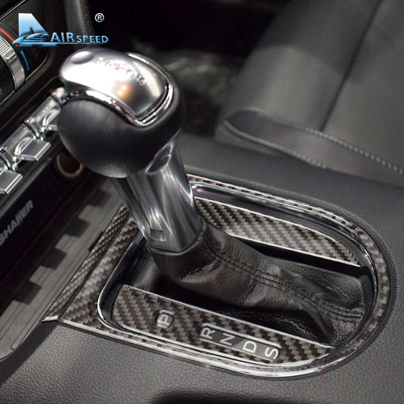 Airspeed fibra de carbono coche Gearshift Panel marco cubierta pegatinas para Ford Mustang 2015-2017 accesorios coche pegatinas estilo