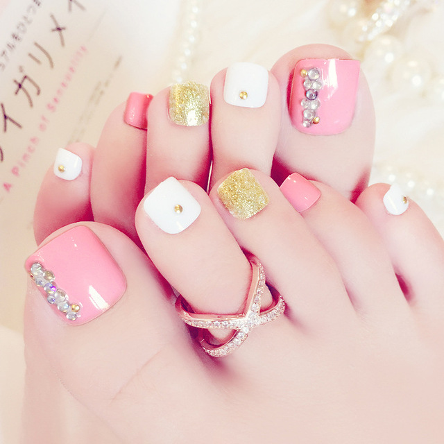 24pcs/set Nail art Japan and South Korea fashion pink toenails of ...