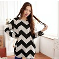 New arrival Fall Autumn Women Stripes Crew neck Pullover Long Sleeve Casual Loose  Top