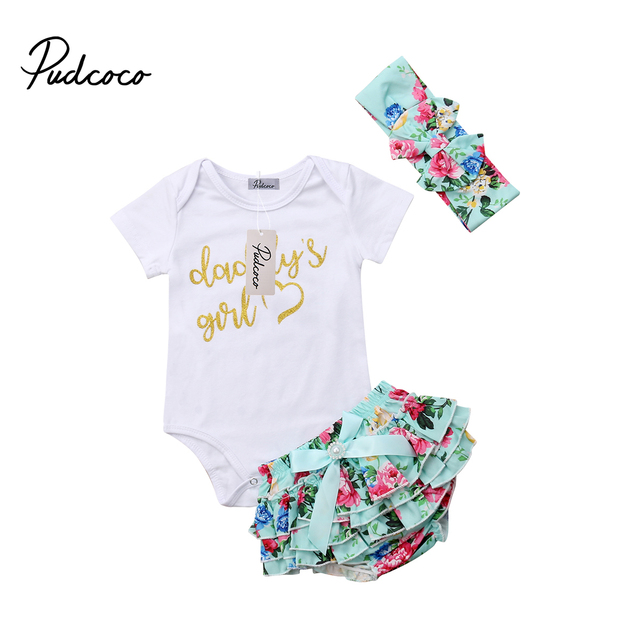 43f487a1651 3Pcs Cute Newborn Baby Dad s Girl Cotton Tops Romper Floral Pants Headband  Outfits Set Clothes 0-24M
