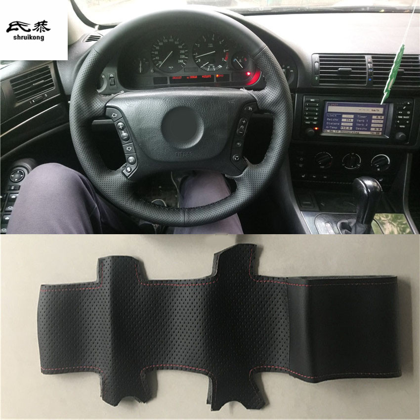 Sew-on Microfiber leather car steering wheel cover Car accessories for BMW E46 318i 325i E39 X5 E53(China)