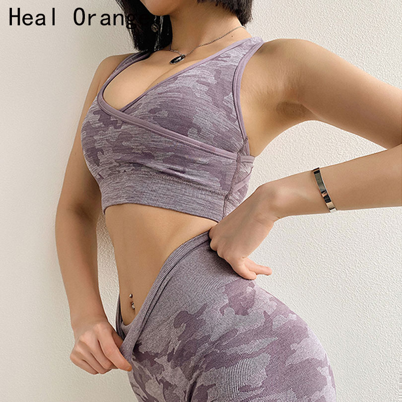 Camouflage Womens Purple Seamless Sports Bra Tops High Impact Yoga Crop Bra Push Up Fitness Running Bras Padded Gym Top