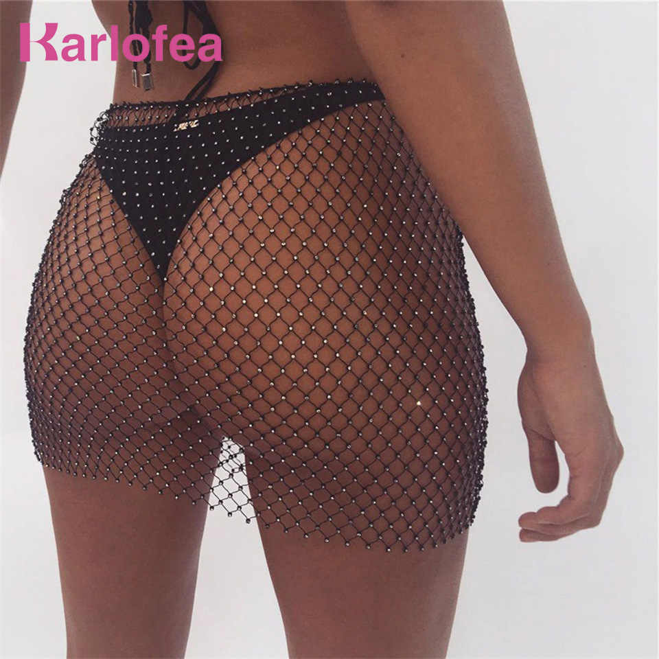 Karlofea Sexy See Through Rhinestone Rok Vrouwen Mode Sheer Beachwear Rok Hollow Out Mesh Club Party Diamant Zwarte Rokken