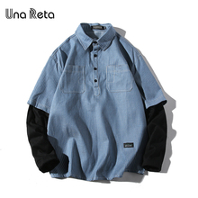 Una Reta Lover Shirt Spring New Brand Hip-Hop Retro Lapel Shirt Men Streetwear Stiped Pullover Stitching Sleeve Shirts(China)
