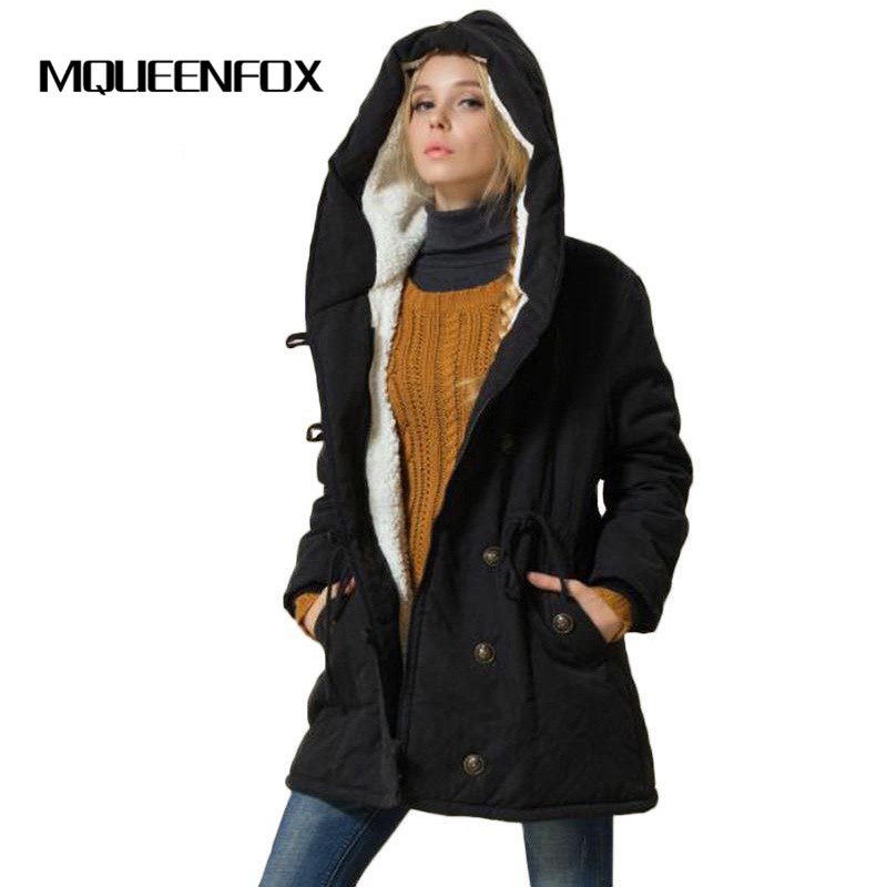 MQUEENFOX Hot Sale Plus Size Winer COat Women Winter Jacket Cotton Padded Female Long Section Cashmere
