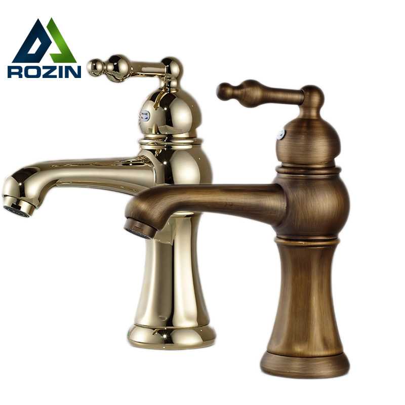 Free Shipping Brass Antique Basin Sink Faucet Short Deck Mounted Hot and Cold Tap for Washbasin free shipping two cross handle basin vessel sink taps deck mounted brass hot and cold washing basin faucet