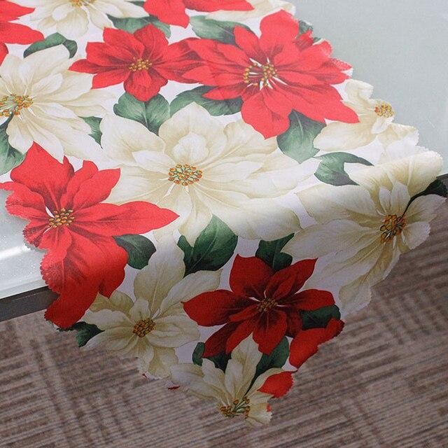 Tapis de Table pour noël 36x180cm 1 pièce | Nappe de noël, drapeau de fête, tapisserie décorative pour la maison, tapis de Table rouge