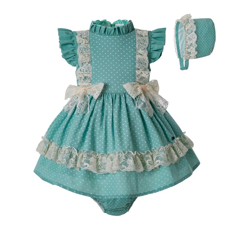 Pettigirl 3pcs Summer Toddler Girl Mint Green ClothingSet PP Pants Pom Hat Lace Girl Double Bows