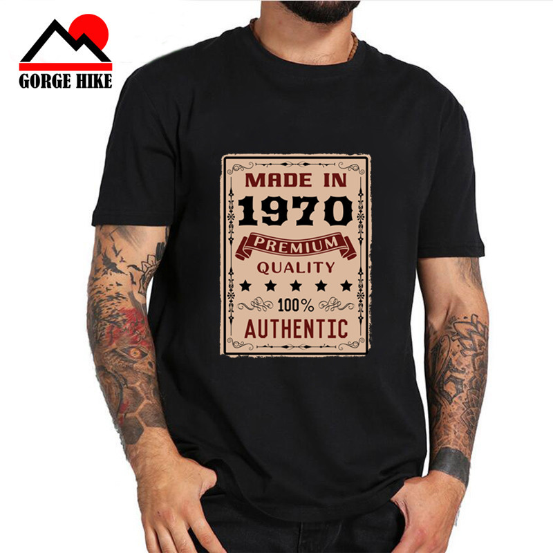 40th 50th Birthday Gift Vintage Made In 1970 Aged Perfectly Men 70S T Shirt Fashion Camiseta 3XL Cotton Short Sleeve T-shirt Men