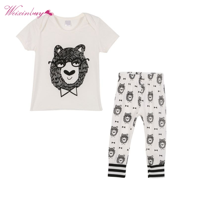 2 Pcs Cartoon Baby Clothes Set Summer Boys Short Sleeve T-shirt + Pants Children Clothing