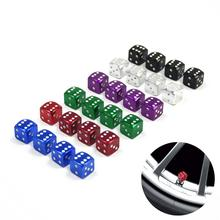 Colorful Car Tires Aluminum Alloy Colored Valve Caps - Dice Stem Motorcycle Tire Bicycle Dust