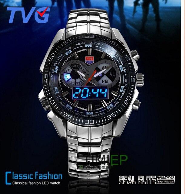 97cd1ced85458 DHL Relógios Desportivos Marca quente dos homens TVG Relógios Digital LED  Militar Relógios Em Aço Inoxidável