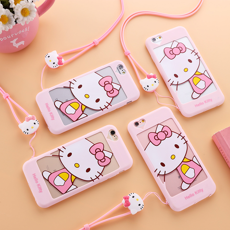 For iPhone 7 7Plus Hello Kitty cover , Cartoon 3D KT Soft back phone Cases For iphone 6 6S 6P 6S plus Mobile phone bag
