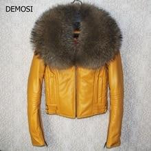 Free Shipping Genuine Women Sheep Leather Jacket 100% Real Sheep Leather Jacket With Raccoon Fur Collar Zip High Quality Coats