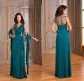 Teal Azul Plus Size Mãe Dos Vestidos de Noiva Com Wraps festa de 2017 Formal de Uma Linha de Chiffon Longo Vestidos de Noite V Pescoço