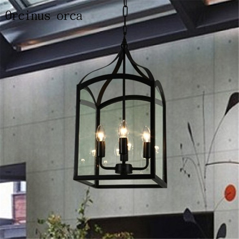 American Retro Bird Cage Chandelier Living Room Bar Cafe Industrial Wind Creative Personality Iron Art Glass Chandelier