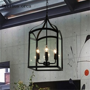 American retro bird cage chandelier living room bar cafe industrial wind creative personality iron art glass chandelier|Pendant Lights| |  -