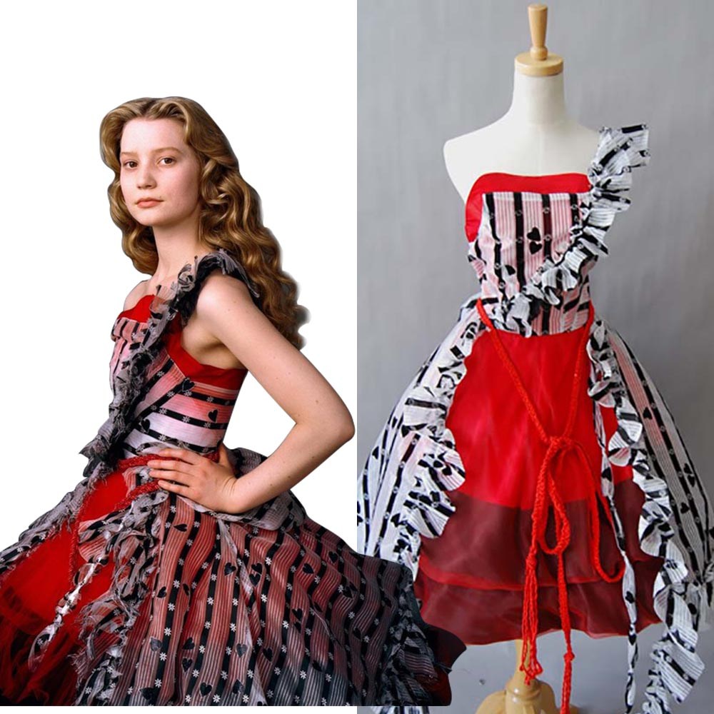 Alice In Wonderland Cosplay Tim Burton Alice Red Court Um Dress Costume Full Sets Uniform Dress  Halloween Costumes