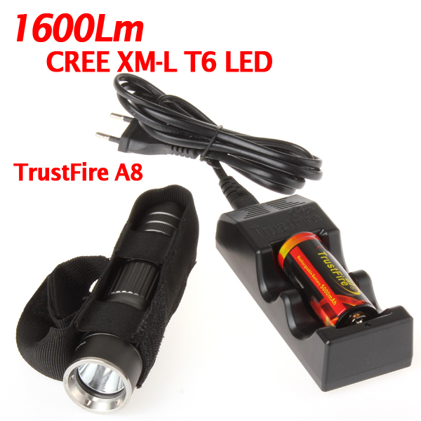 Trustfire A8 Torch 5 Mode 1600 Lumens CREE XM-L2 High Power Torch LED Flashlight with 1*26650 and 1*charger alonefire x160 cree xm l2 led flashlight high power lighting flashlight torch with 26650 battery charger