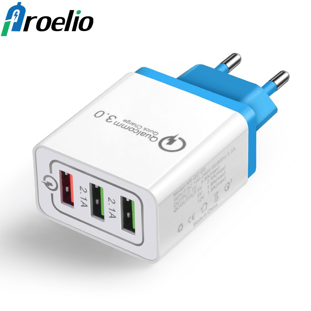 Proelio USB Charger Quick Charge 3.0 Mobile Phone Charger 3 Port USB Fast Charging for Samsung S9 Xiaomi Huawei Tablet Chargers