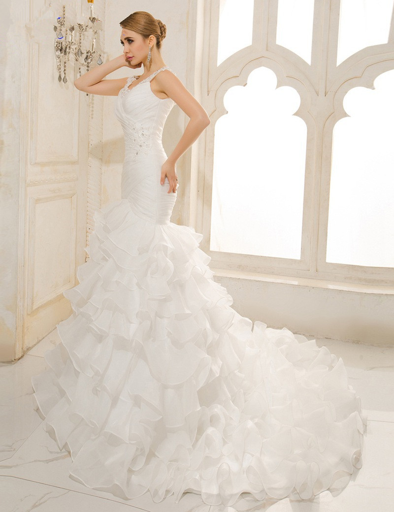 Vestido De Noiva Renda Sexy Mermaid Wedding Dress Vintage V Neck Lace Up Organza Pleated Wedding Gowns 2016 Trouwjurken in Wedding Dresses from Weddings Events