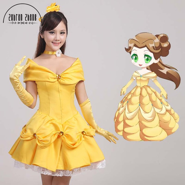 Beauty And The Beast Adult Princess Belle Short Cosplay Costume Halloween Costumes Dress For Women Custom  sc 1 st  AliExpress.com & Beauty And The Beast Adult Princess Belle Short Cosplay Costume ...