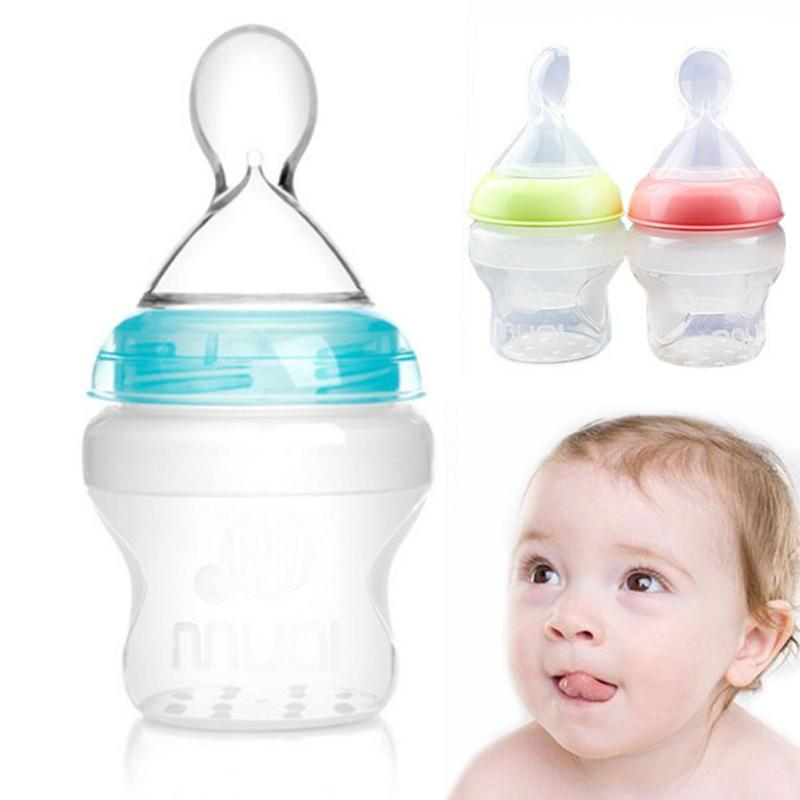 150ml Silicone Baby Feeding Bottle with Spoon Newborn infant Training Scoop Toddler Food Supplement Rice Cereal Bottle feeder D3
